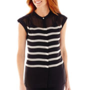 Liz Claiborne® Short-Sleeve Striped Henley Blouse