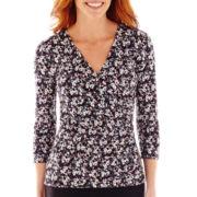 Liz Claiborne® 3/4-Sleeve Print Crossover Top