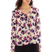 Liz Claiborne® Long-Sleeve Ruffle-Front Print Blouse