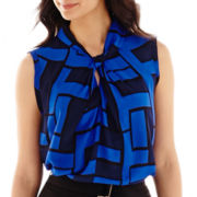 Liz Claiborne® Sleeveless Twist-Neck Print Blouse