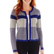 Liz Claiborne® Long-Sleeve Open-Front Cardigan Sweater