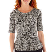 Liz Claiborne® Elbow-Sleeve Peplum Top