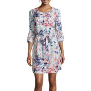 a.n.a® 3/4-Sleeve Print Shirtdress