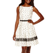 Danny & Nicole® Sleeveless Dot Print Fit-and-Flare Dress