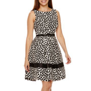 Danny & Nicole® Sleeveless Dot Fit-and-Flare Dress