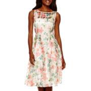 Danny & Nicole® Sleeveless Floral Burnout A-Line Dress