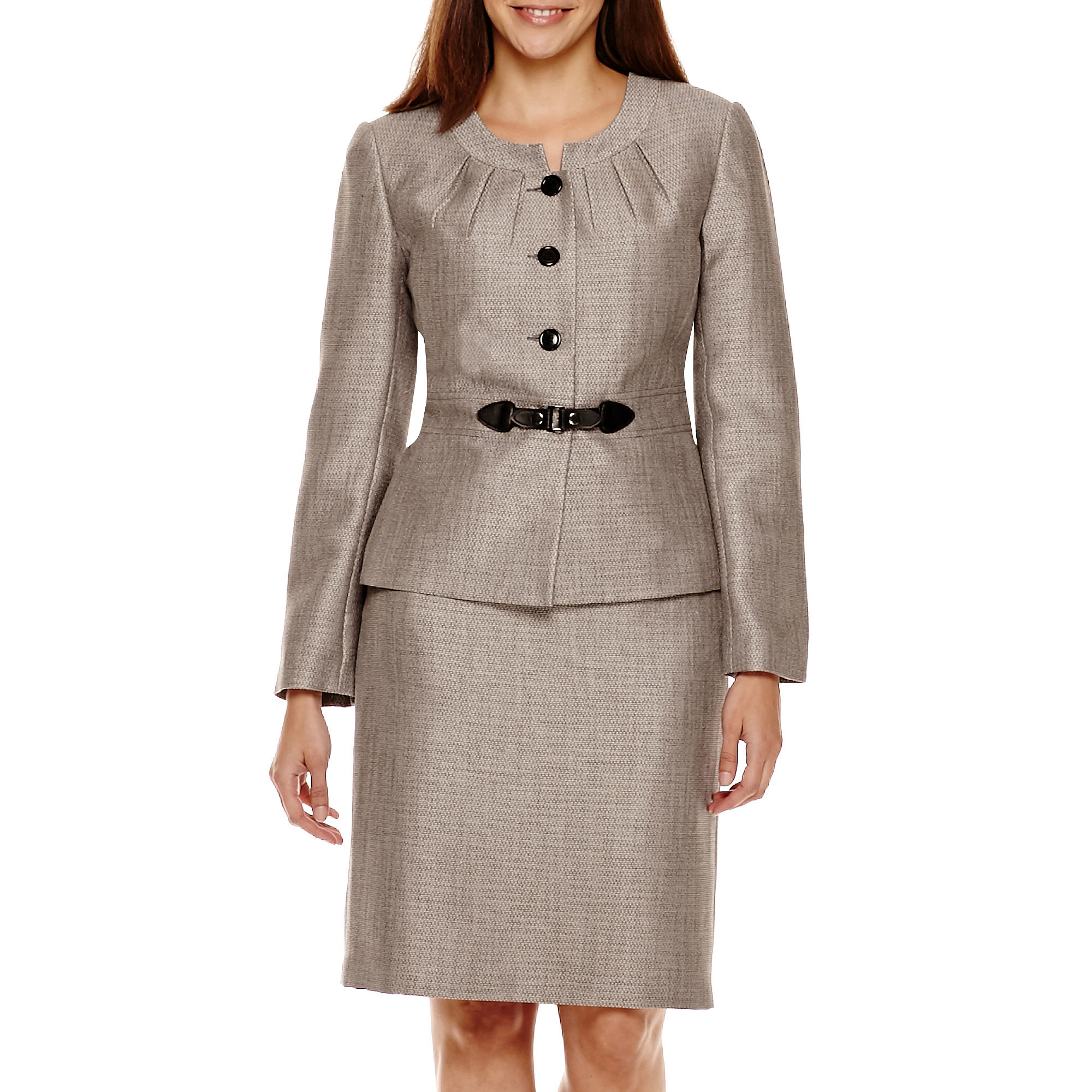 Isabella Long-Sleeve Jacket and Skirt Suit Set