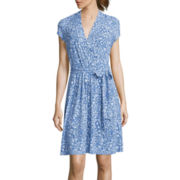 Liz Claiborne® Cap-Sleeve Wrap Dress