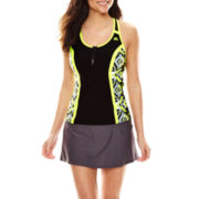 Zeroxposur® Fracture Zippered Sport Tankini Swim Top or Sport Skirtini Swim Bottoms