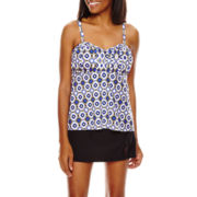 Fit Fix Shirred-Front Tankini Swim Top or Skirt Swim Bottoms