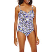 Fit Fix Foiled Diamond Criss-Cross Mio 1-Pc Swimsuit - Misses