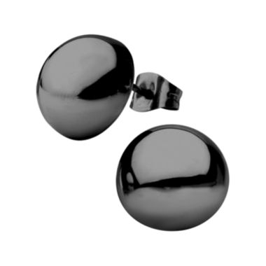 jcpenney.com | Stainless Steel And Black Ip Hollow Button Stud Earrings 1