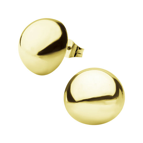 Stainless Steel And Yellow IP 14mm Hollow Button Stud Earrings