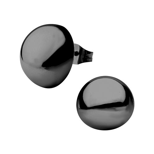 Stainless Steel And Black IP 14mm Hollow Button Stud Earrings