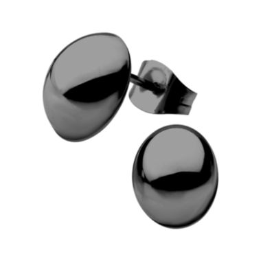 jcpenney.com | Stainless Steel and Black IP 8x10mm Hollow Button Stud Earrings