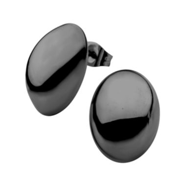 jcpenney.com | Stainless Steel and Black IP 13x18mm Hollow Button Stud Earrings