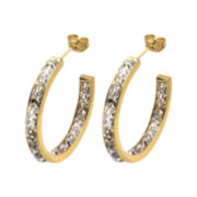 Stainless Steel and Yellow IP Crystal In-Out Hoop Earrings