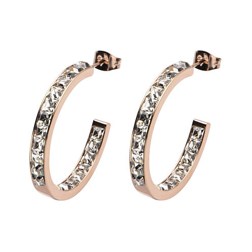 Stainless Steel and Pink IP Crystal In-Out Hoop Earrings
