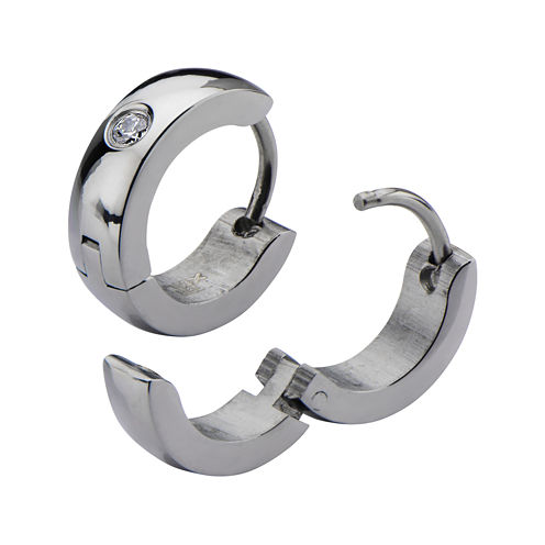 Stainless Steel with Cubic Zirconia 12.7x4mm Huggie Hoop Earrings