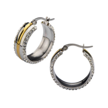 jcpenney.com | Crystal-Accent Two-Tone Stainless Steel Hoop Earrings
