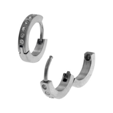 jcpenney.com | Cubic Zirconia Stainless Steel Huggie 12.7mm Hoop Earrings