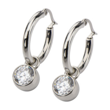 jcpenney.com | Stainless Steel with Cubic Zirconia Round Dangle Hoop Earrings