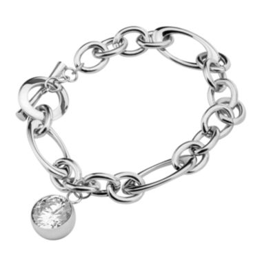 "jcpenney.com | Stainless Steel with Round Cubic Zirconia Charm 8"" Bracelet"