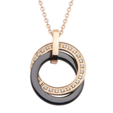 jcpenney.com | Stainless Steel and Rose IP Cubic Zirconia Ceramic Circle Pendant Necklace
