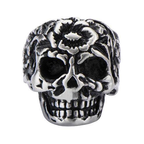 Stainless Steel Flower Skull Ring