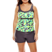 Zeroxposur® Swirl Peasant Tankini Swim Top or Action Swim Shorts - Plus