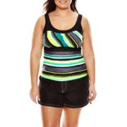 Zeroxposur® Haze Peasant Tankini Swim Top or Woven Board Shorts - Plus