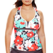 Zeroxposur® Bloom Action Tankini Swim Top - Plus