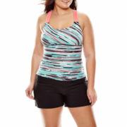 Zeroxposur® Stratum Wide Strap Tankini Swim Top or Action Swim Shorts - Plus