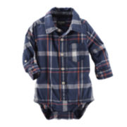OshKosh B'Gosh® Long-Sleeve Plaid Button-Front Bodysuit - Baby Boys 3m-24m