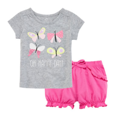 jcpenney.com | Okie Dokie® Graphic Tee or Bubble Shorts - Baby Girls newborn-24m