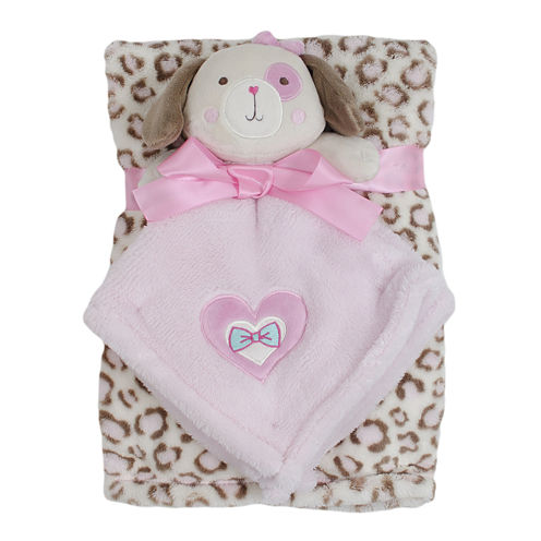Cutie Pie 2-pc. Printed Velboa Blanket with Puppy Plush