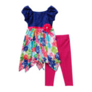 Youngland® Sharkbite Dress and Leggings Set - Preschool Girls 4-6x