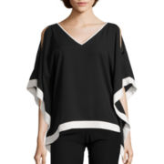 by&by 3/4-Sleeve Double-V Poncho Top