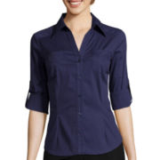 by&by 3/4-Sleeve Solid Button-Up Shirt