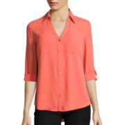 by&by 3/4-Roll Sleeve Crepe Blouse