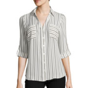 by&by 3/4-Roll Sleeve Striped  Blouse