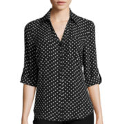 by&by 3/4-Roll Sleeve Polka Dot Crepe Blouse