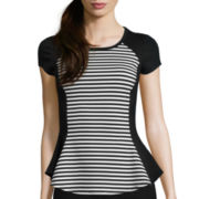 by&by Short-Sleeve Stripe-to-Solid Peplum Top