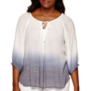 by&by 3/4-Sleeve Dip-Dye Peasant Top - Juniors Plus
