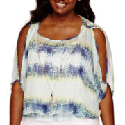 by&by Printed Cold-Shoulder Necklace Top - Juniors Plus