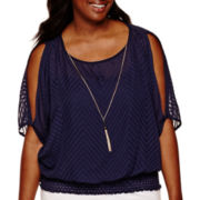 by&by Textured Necklace Top - Juniors Plus
