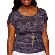by&by Short-Sleeve Space-Dye Necklace Top - Juniors Plus