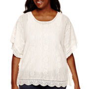 Arizona Elbow-Sleeve Lace Square Poncho Sweater - Juniors Plus