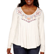 Arizona Embroidered Lace Knit Top - Juniors Plus