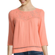 Arizona 3/4-Sleeve Swing Peasant Top - Juniors